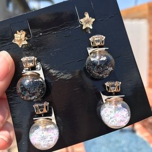 Jewelry - Pack of 3 pairs of star earrings, two front-back